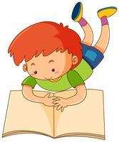 Happy boy reading book