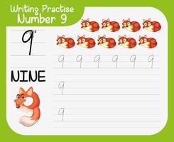 Number nine tracing worksheets