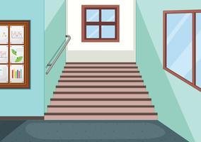 Interior of school staircase vector