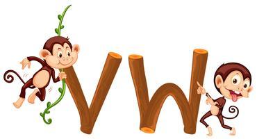 Alfabeto mono y de madera.