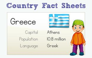 Folha Informativa do País da Grécia com Personagem