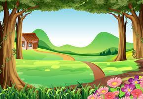 Scène avec maison dans le champ