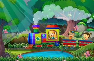Children ride on train in the woods