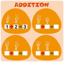 Math worksheet with adding fingers
