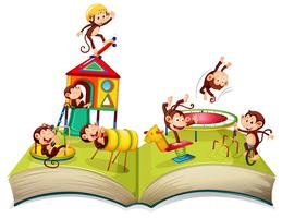 Monkey at playground open book
