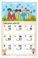 Math worksheet for subtraction within fifty