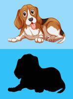 Beagle dog and its silhouette
