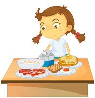 A Girl Eating Breakfast on White Background