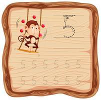 Número cinco traçando planilhas de alfabeto