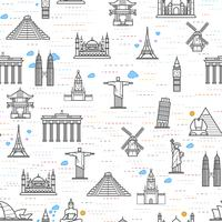 Seamless pattern of the attractions of the world, outline drawing for your application.