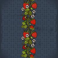 Abstract color seamless lace pattern with flowers, leaves and strawberry on the background.