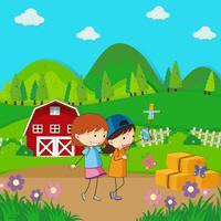 Två tjejer tar sig själv på gården