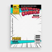 projeto de layout de página de frente de revista em quadrinhos