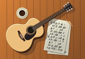 Guitarra, Partiture e café em uma mesa de madeira vetor