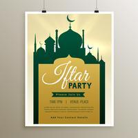 Invitación fiesta iftar con diseño de mezquita.