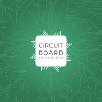 Flat Modern Green Circuit Board Vector Illustration