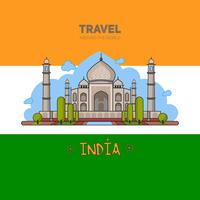 Indian palace in the background seamless pattern and on the background of the flag.