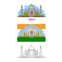 Indian palace in different ways. Color, without contour, lines only. Vector illustration.