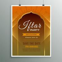 Iftar inbjudan mall i islamisk design stil