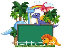 Dinosaur med tavlan banner