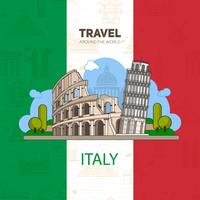 Italian landmarks, historic architecture, on the background of the flag with seamless backgrounds.