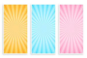 abstract sunburst rays banner set