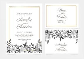 Invitation de mariage Floral dessiné main Vector