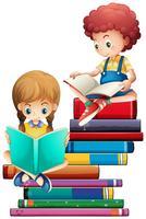 Barn med böcker på vit bakgrund