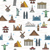 Seamless color pattern of the attractions of the world, outline drawing for your application.