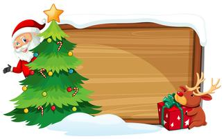 Cartoon xmas wooden banner