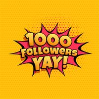 1000 banner celebrazione follower per i social media