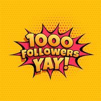 1000 follower celebration banner för sociala medier