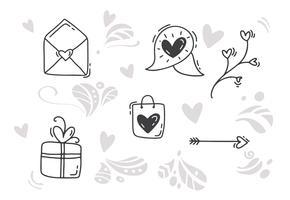 Monoline Valentinstag Hand gezeichnete Elemente
