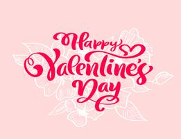 "Calligraphy phrase ""Happy Valentine's Day"" with flourishes & Hearts"