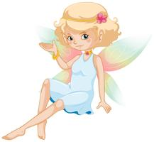 Cute fairy with colorful wings and white dress
