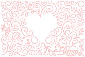 Vector monoline calligraphy background for Happy Valentines Day. Valentine Hand Drawn elements. Holiday sketch doodle Design card with Heart frame. Isolated illustration decor for web, wedding and print