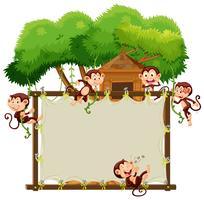 Plantilla de borde con monos lindos