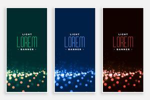 lovely bokeh lights banners set
