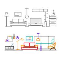 Thin line flat design of modern living room with furniture, color version of the lines in the overlay mode color.