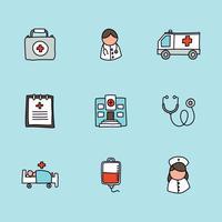 Gekritzelte Gesundheitswesen-Ikonen