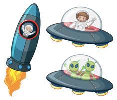 Astronautas y alienígenas en naves espaciales.