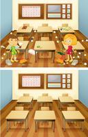 Estudiantes limpiando el aula