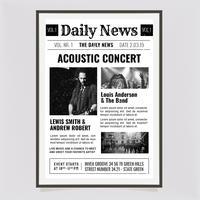 Vector News Papper Konsertaffisch