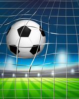 Uma bola de futebol no gol