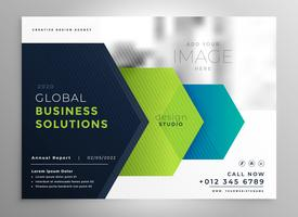 professional brochure presentation template in geometric arrow style