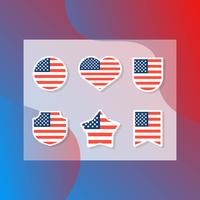 Flache moderne amerikanische Flagge Set Collection