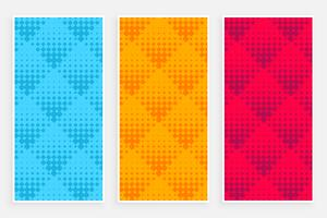 abstract halftone pattern banners in different colors
