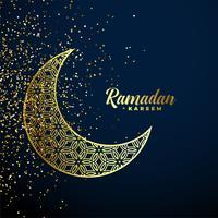 Goldener dekorativer Mond mit Funkeln Ramadan Kareem Hintergrund