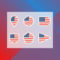 Flat Minimalist American Flag In Badge Vector Collection