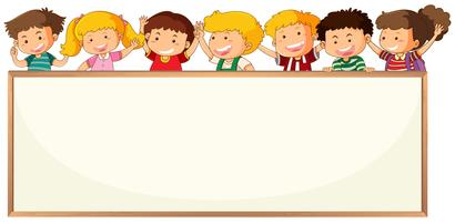 Children on blank frame template vector